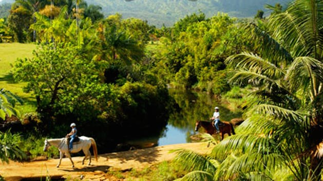 two people riding horses in Kauai