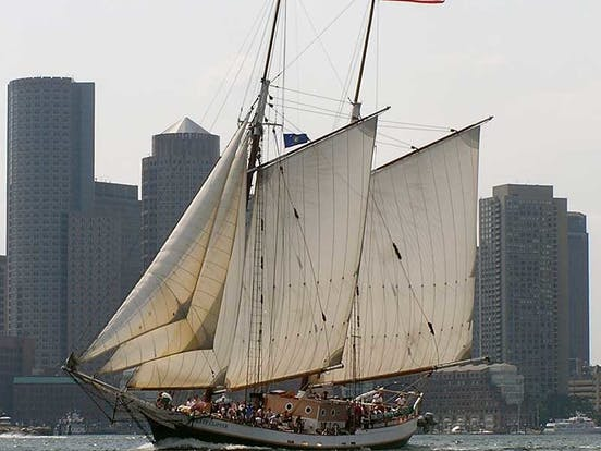Liberty Clipper flying the American flag in the Boston Harbor