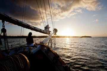 Bahamas sunset on a windjammer