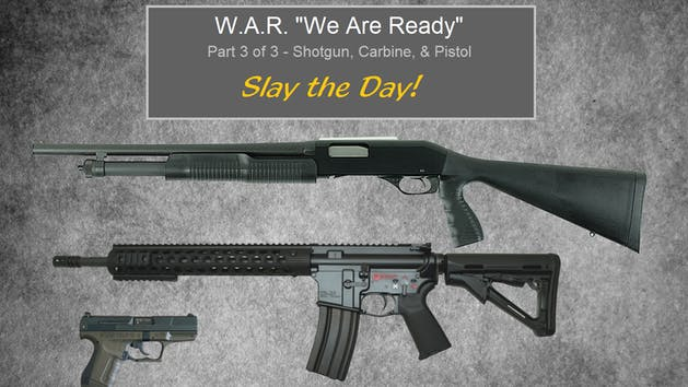 W.A.R. class poster with rifle, shotgun, and pistol