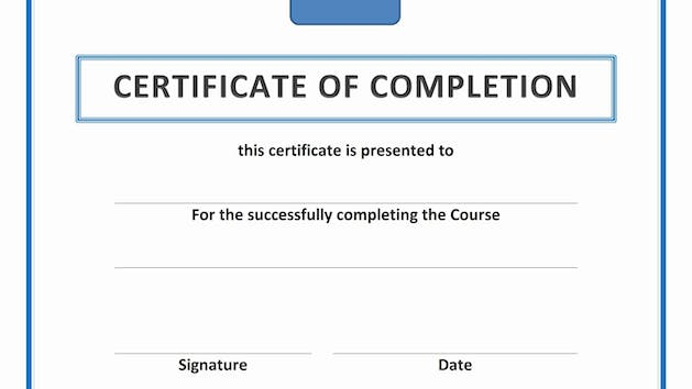 Photo of the Certificate of Completion