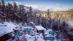 Winter view of Scandinave Spa
