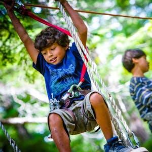 Child swinging on tree top adventure