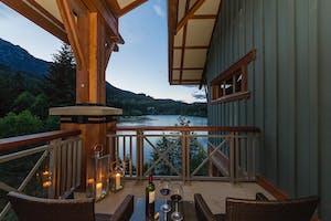 A view over the lake from a room at Nita Lake Lodge