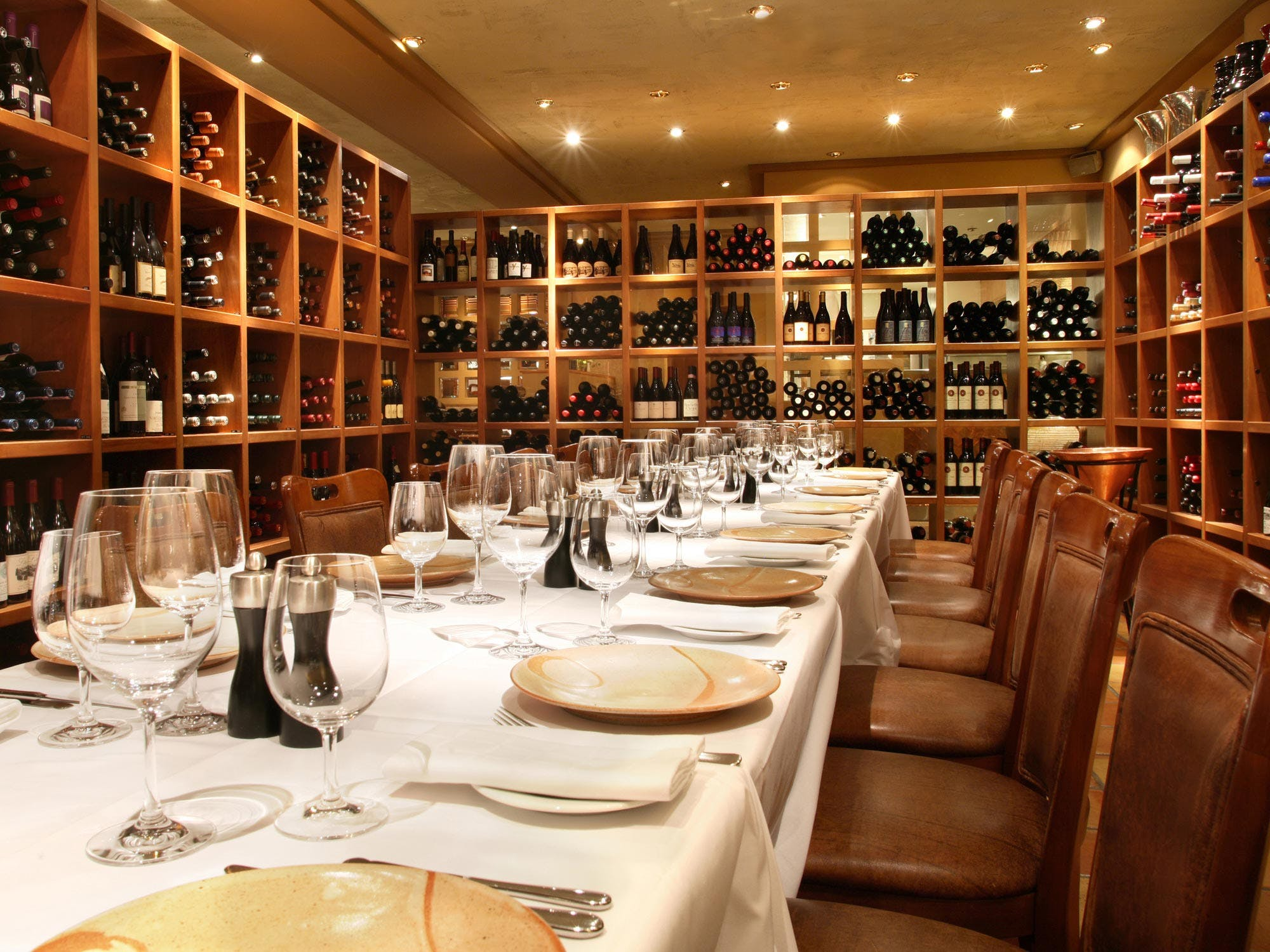 Dining inside the wine room