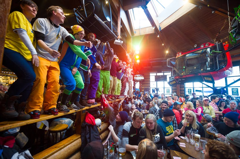 A wild party on a ski resort