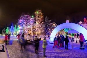 Winter wonderland with Christmas lights
