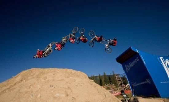 Back flip on mountain bike