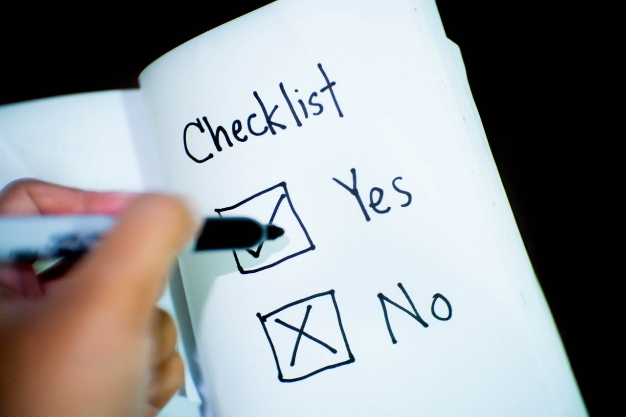 Checklist - yes and No