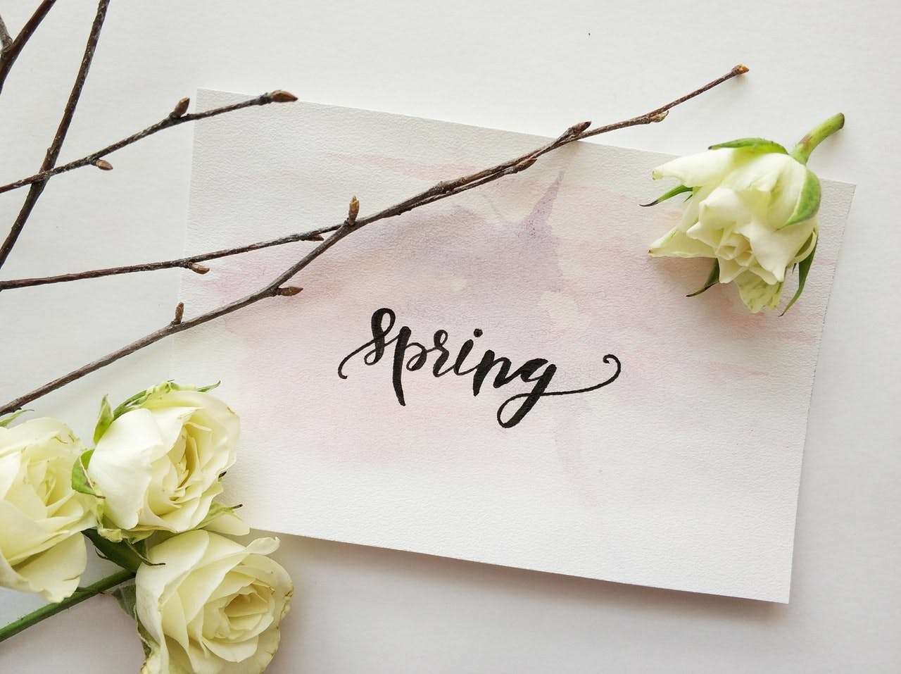 Spring written on paper with flowers