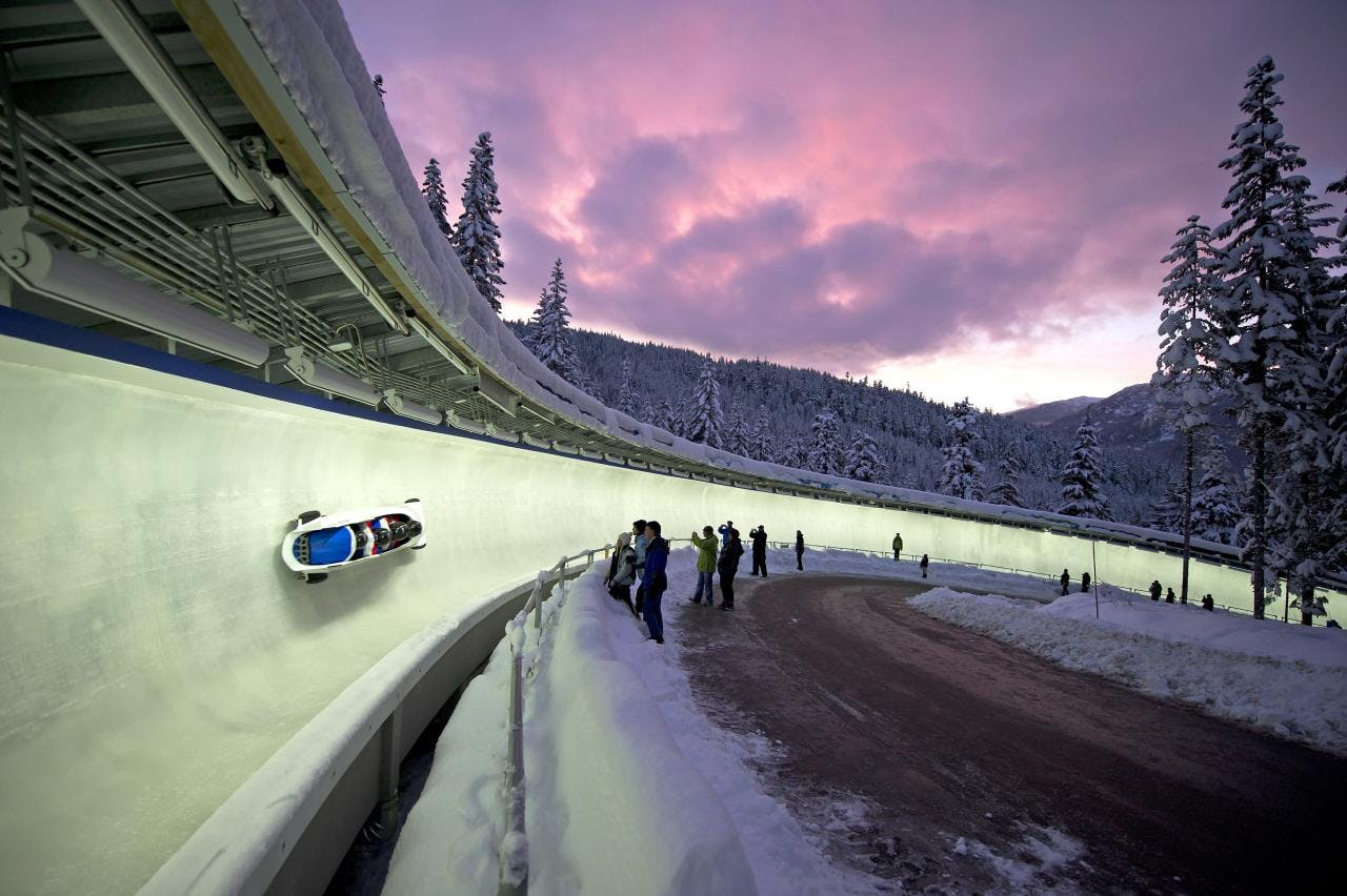 Whistler Sliding Centre Bobsled at night