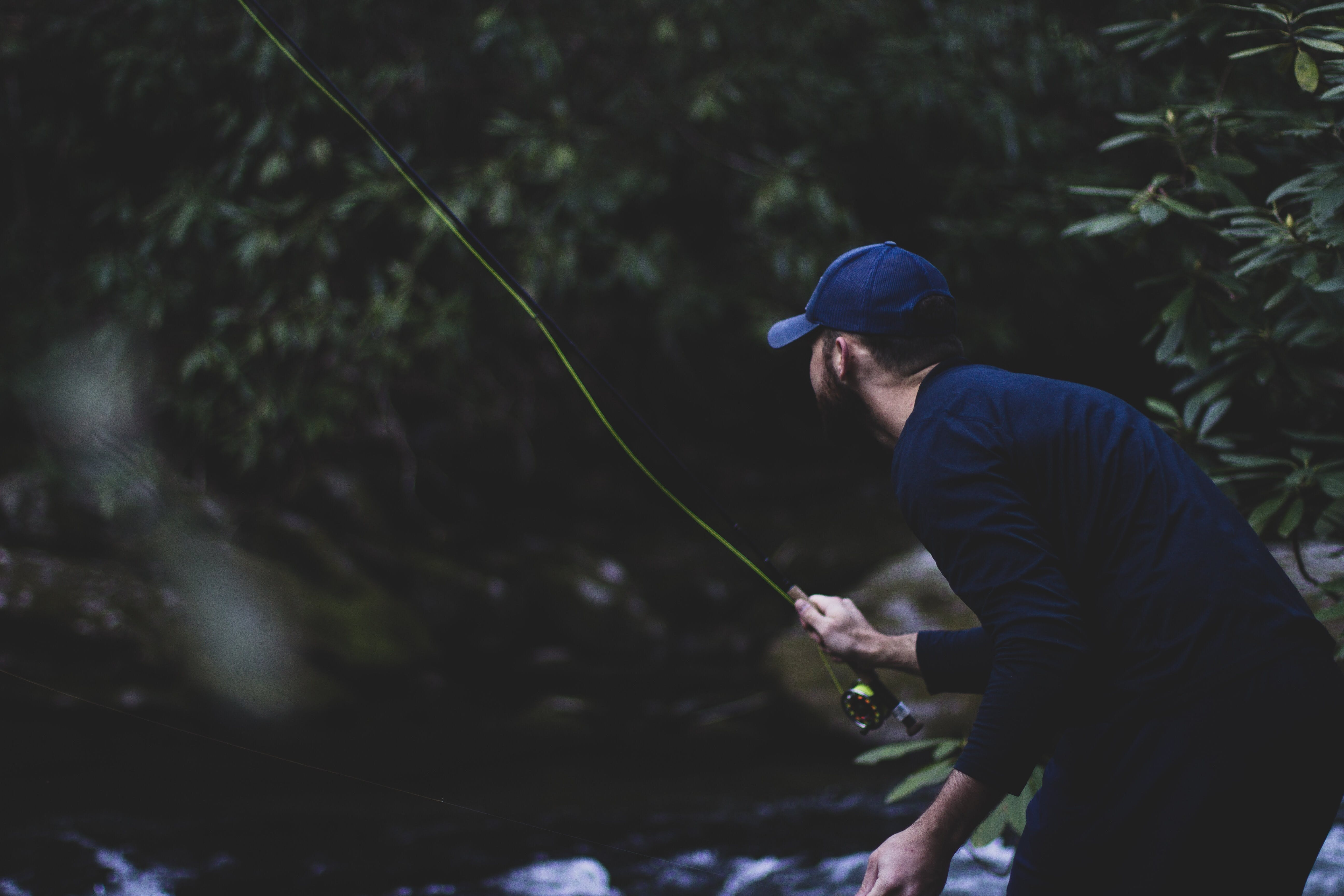 Man fly fishing on a river