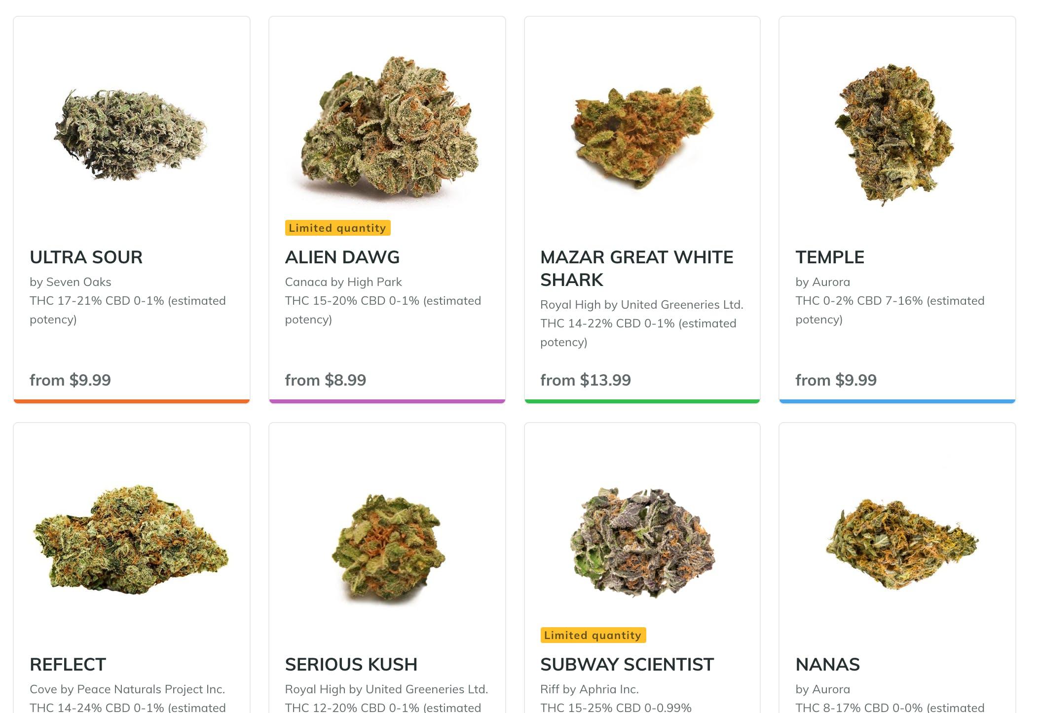 Screen shot from BC cannabis