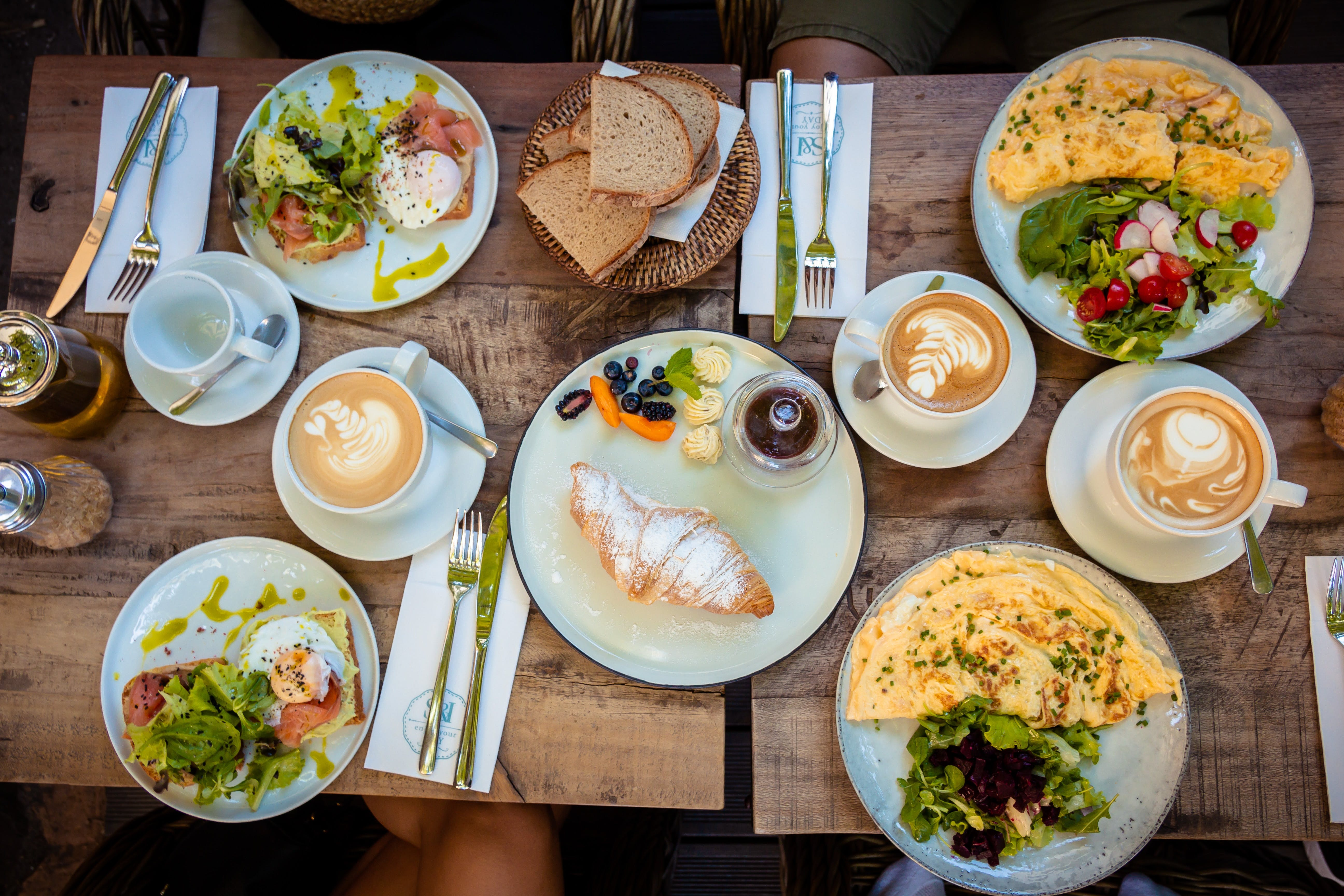 Big breakfast spread, laid out on a table