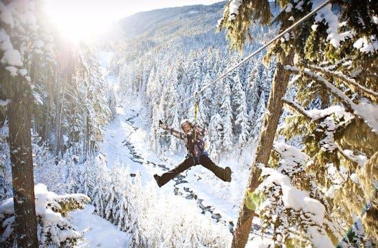Superfly guest ziplining in Winter