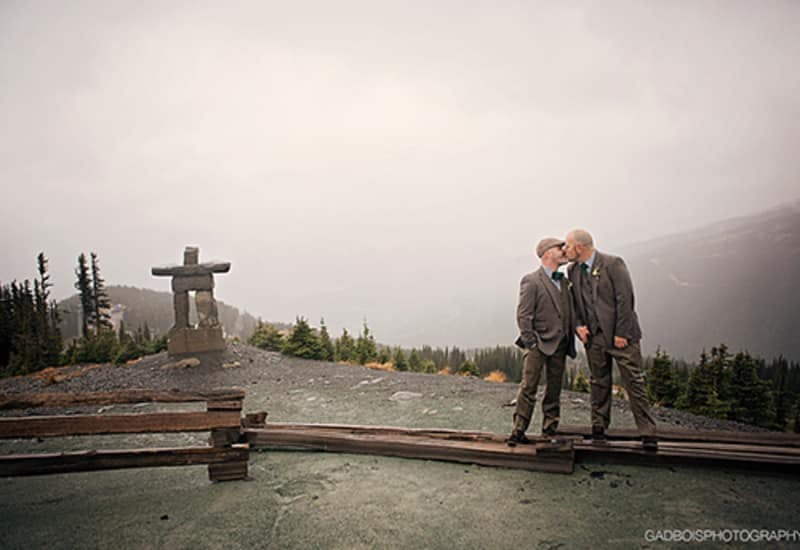 Two grooms, wedding, top of whistler