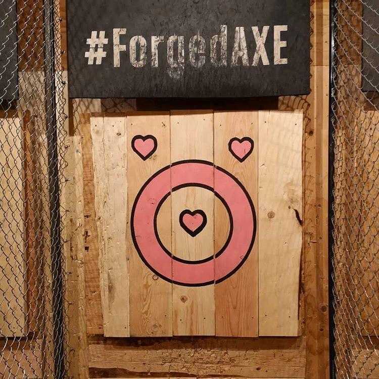 Heart axe throwing target.