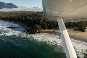 Aerial view from a float plane of Tofino, BC