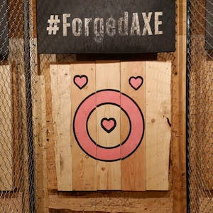 Heart shaped Target at Forged Axe throwing, Whistler