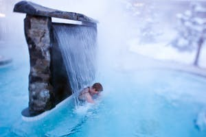 A hot water fall at the Scandinave spa in Whistler