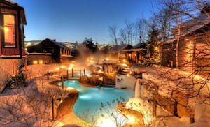 Night lit pools at Scandinave spa in Whistler