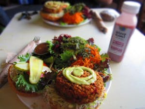 a veggie burger on a table at Zephyr Cafe in Squamish