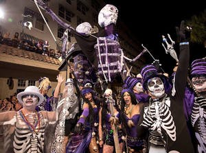Moving Skeleton Float operated by paraders