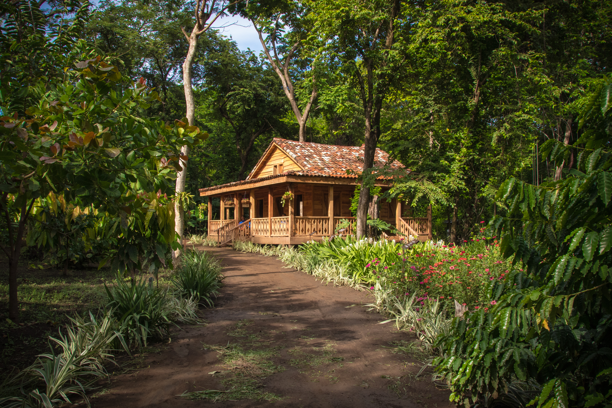 Wood Costa Rican House inside the Botanical Garden