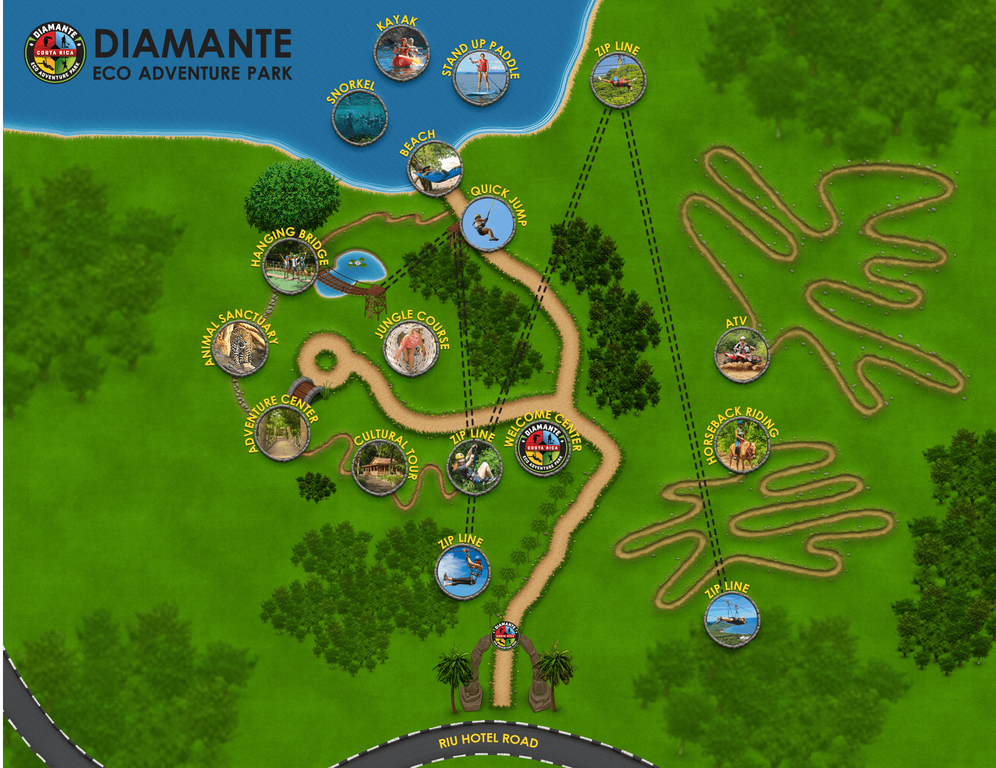 A map of Diamante Eco Adventure Park