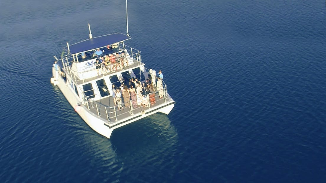 The aerial shot of the Big Sunset Cruise in Tumon, Guam