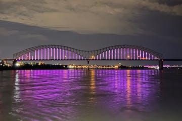 a long bridge over a body of water