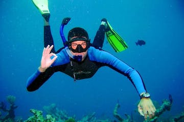 A snorkeler giving the 'OK' symbol