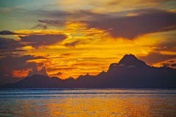 Sunset over the ocean on Tahiti