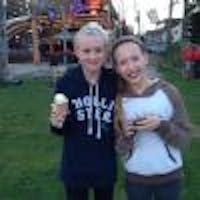 2 Girls With Ice Cream Cones In Their Hands