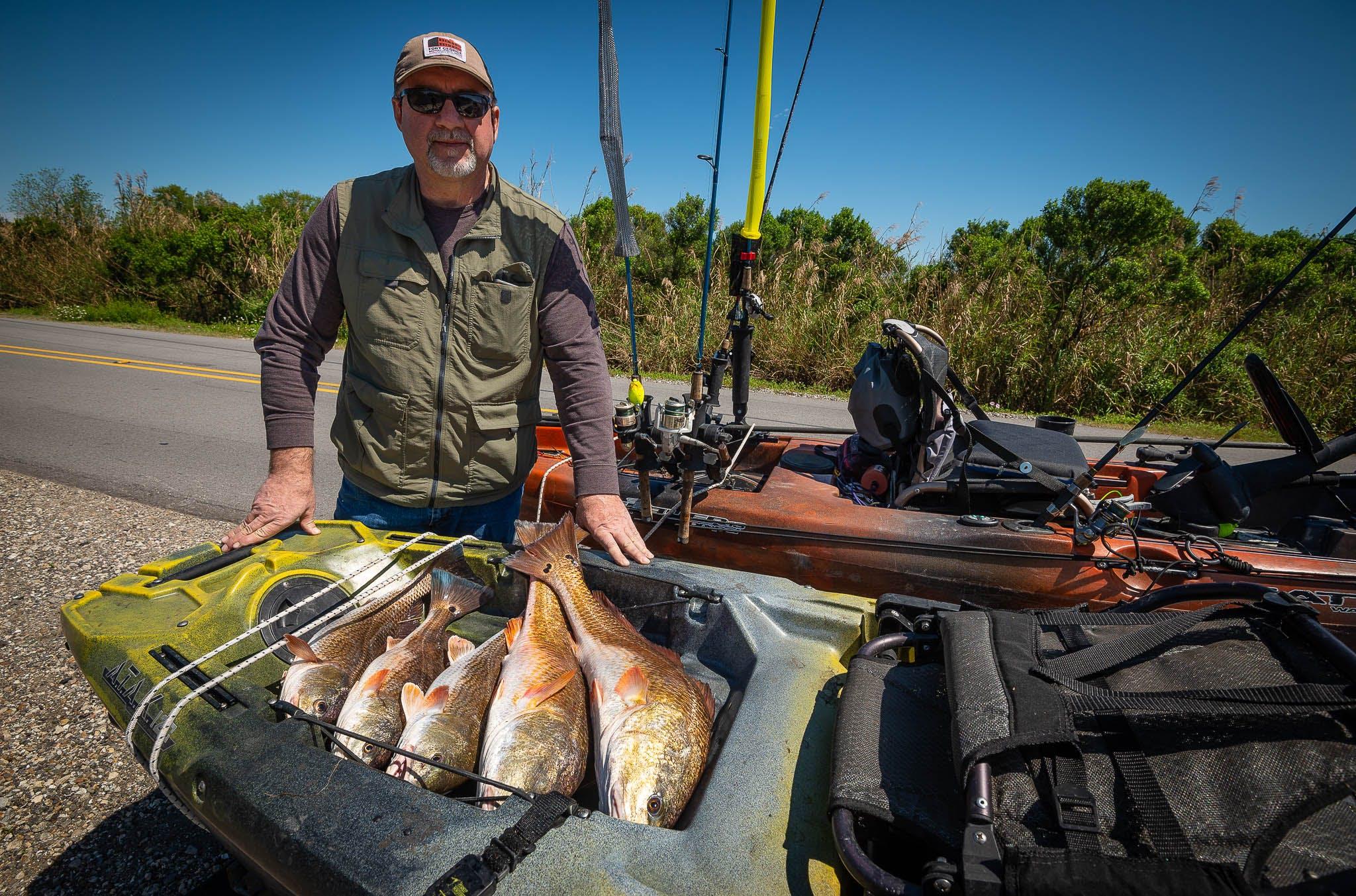 kayaking, kayak fishing, kayak redfishing, new orleans kayak fishing