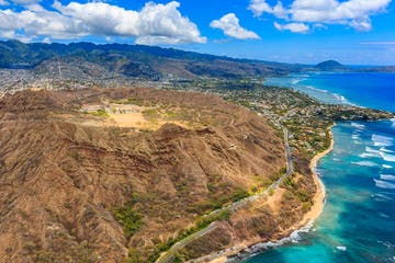 Aerial view of Diamond Head volcano crater on the island of Oahu, in Honolulu Hawaii, from a helicopter