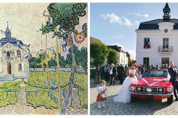 Van Gogh painting left, wedding on right
