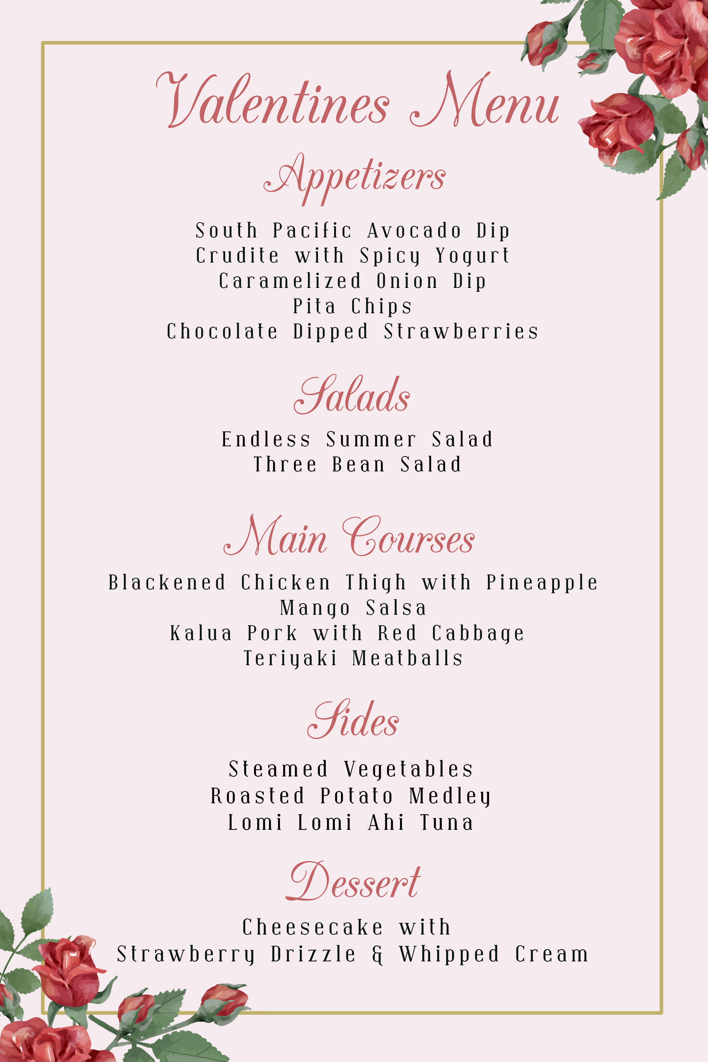 Click here to Download Valentine's Day Dinner Menu