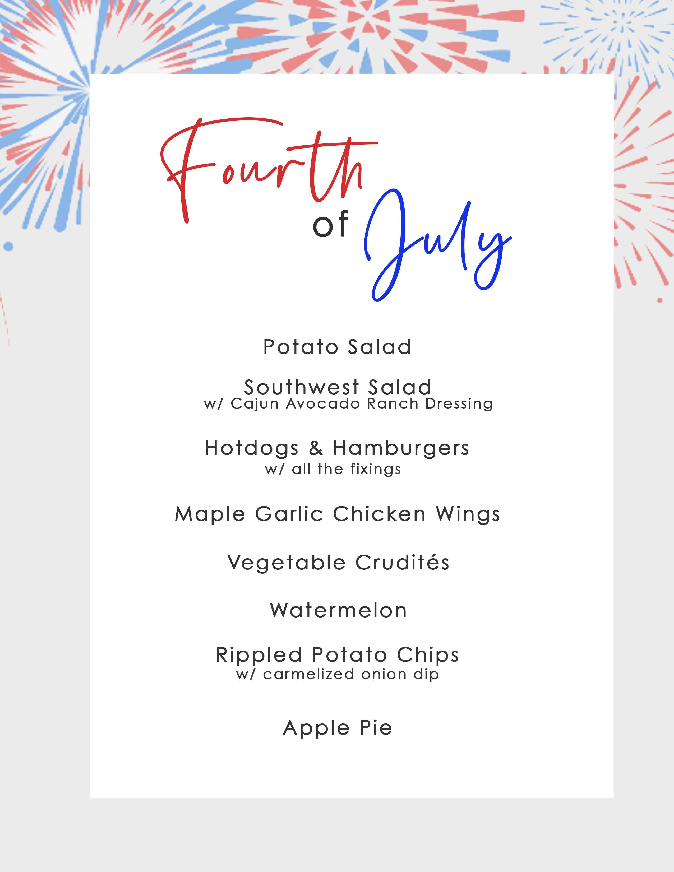 Click here to Download Fourth of July Fireworks Cruise Menu