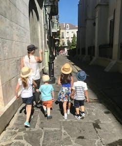 walking down alleyway