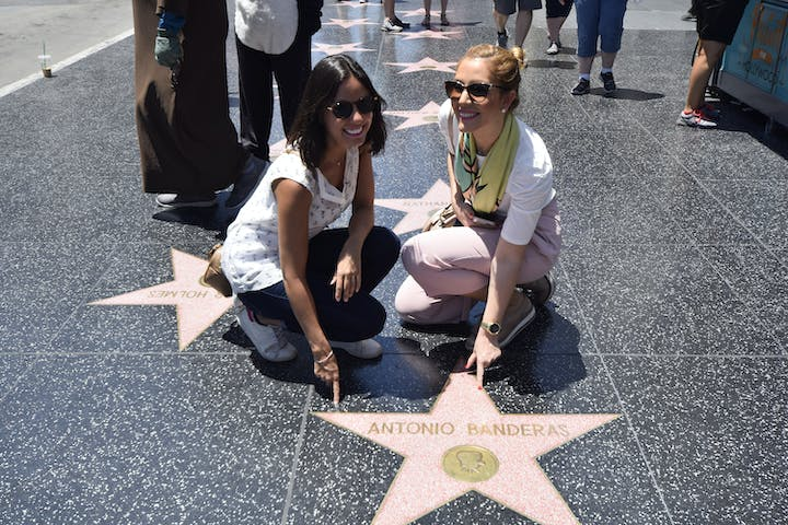 Women Pose with Antonio Banderas' Star on Walk of Fame