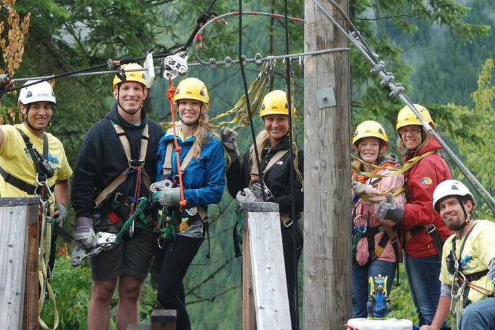 Group ziplining at Silver Streak Zipline Tours