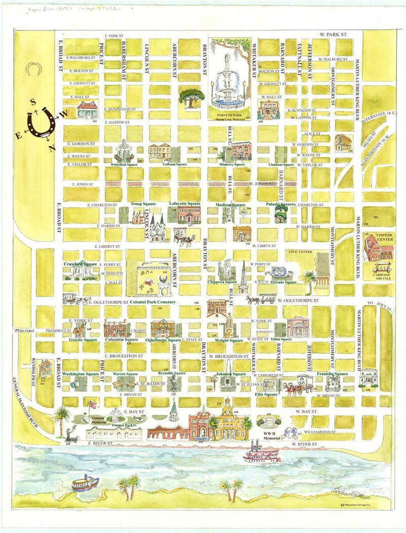 Map of Savannah | Plantation Carriage Company Map To Savannah Georgia on map to phoenix arizona, map to south carolina, map to tucson arizona, map to topeka kansas, map to san diego california, map to butte montana, map to birmingham alabama, map to north carolina, map to florida, map to springfield missouri,
