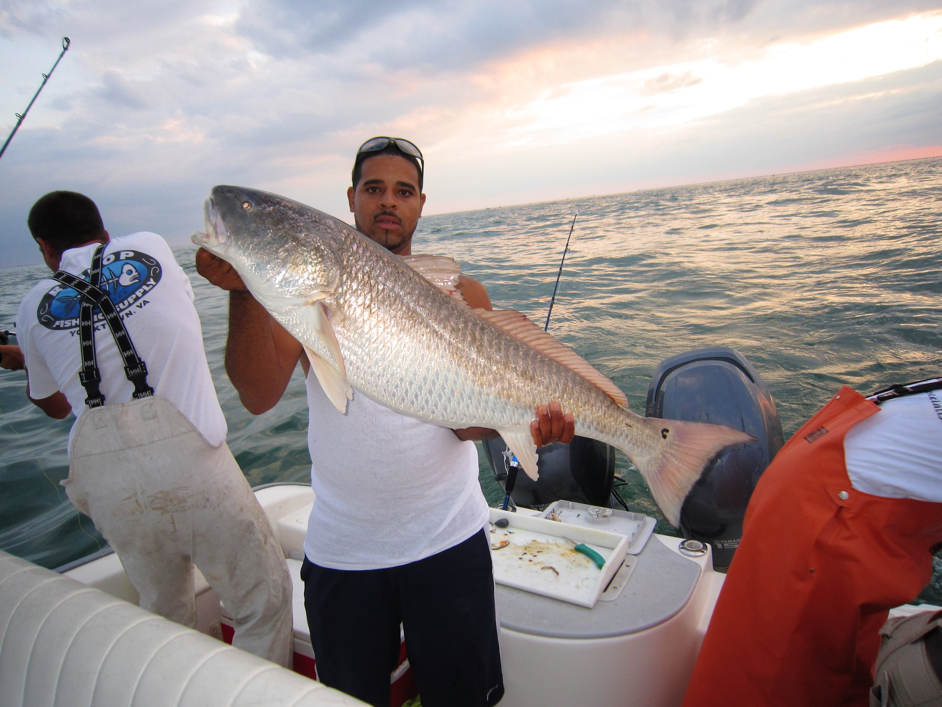 A man holds up a red drum he caught at dusk