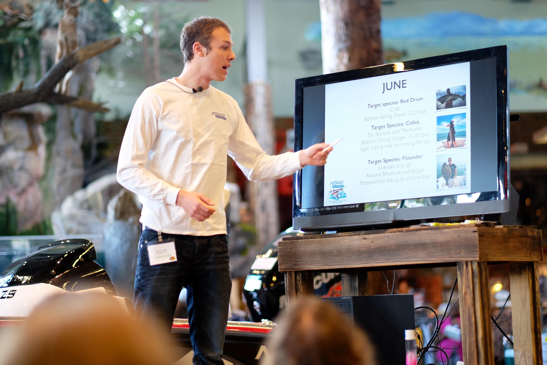 Austin Hayne presents about fish species in Chesapeake Bay