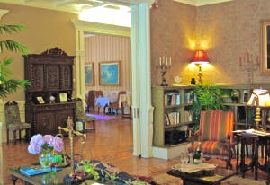 Relaxing in the Library at Mayor's Mansion Inn