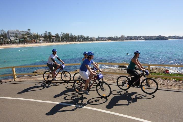 A group of friends biking.