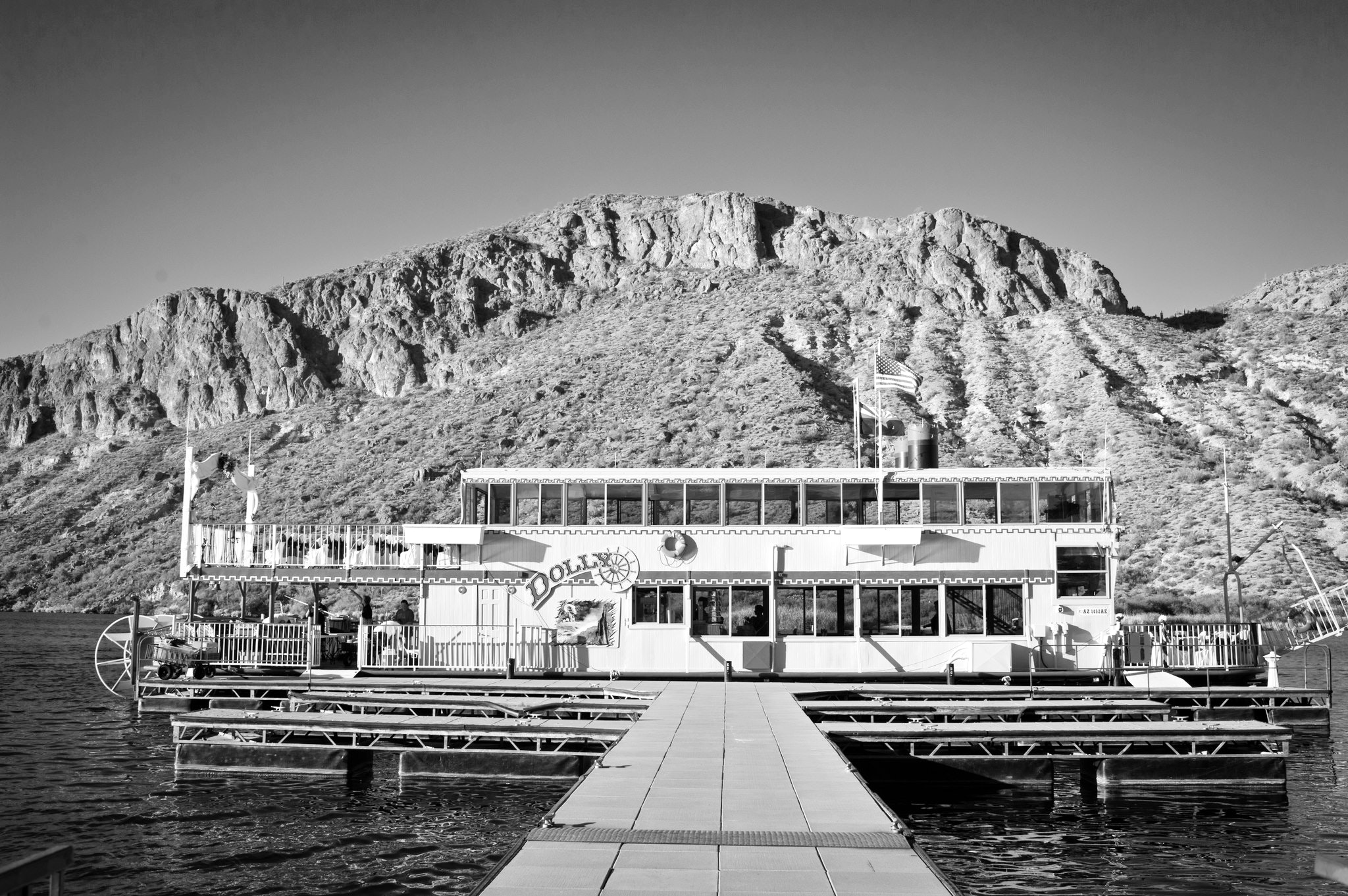Dolly Steamboat at dock in black and white