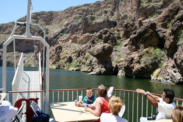 Guests enjoy a Dolly Steamboat cruise on Canyon Lake