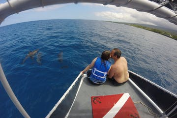 Couple on private charter in Kealakekua Bay with Spinner Dolphins